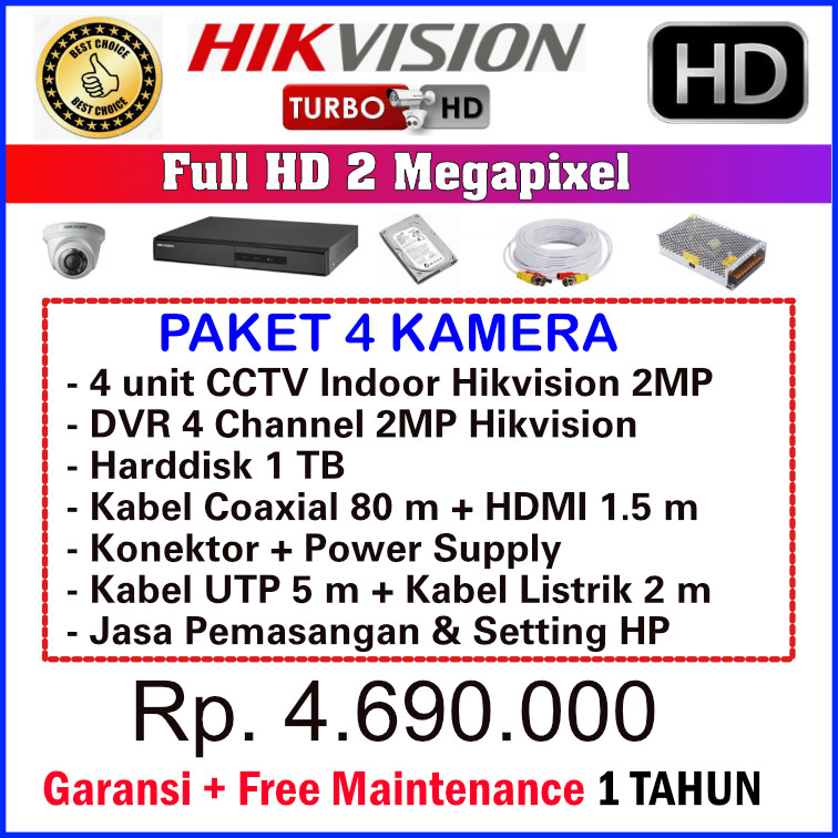 Paket CCTV Hikvision 2MP 4 Channel